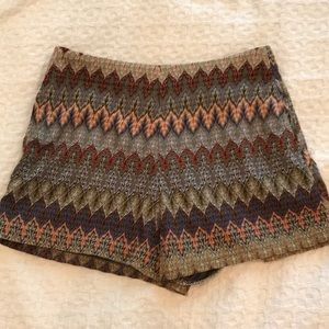 Embroidered Metallic Shorts